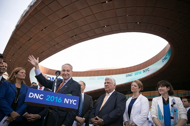 Senator Charles Schumer outside the Barclays Center Monday. (Photo: William Alatriste/NYC Council)