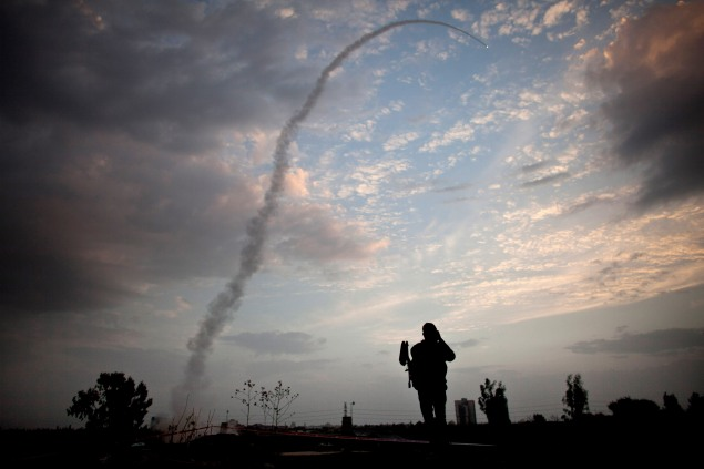 An Israeli missile launched from the Iron Dome missile defense system. Photo by Uriel Sinai/Getty Images