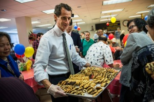 Mr. Weiner's experience with food has thus far been limited to campaign catering  (Getty)