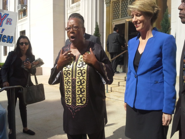 Bertha Lewis with Zephyr Teachout today. (Photo: Ross Barkan)