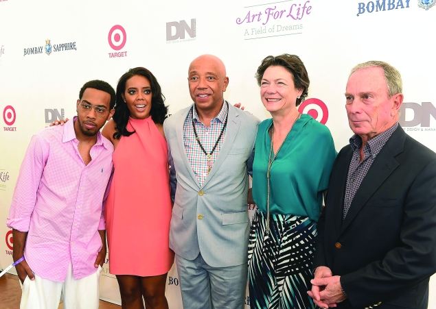 JoJo Simmons, Angela Simmons, Russell Simmons, Diana Taylor and Michael Bloomberg attends the 15th annual Art For Life Benefit. (Photo by Paras Griffin/FilmMagic)