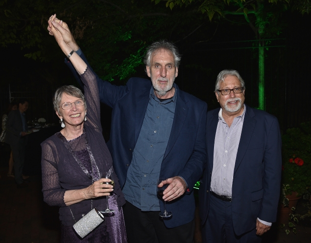 """Author Lois Lowry,  director Phillip Noyce and producer Neil Koenigsberg attend """"The Giver"""" premiere after-party. (Photo by Dimitrios Kambouris/Getty Images)"""