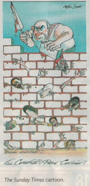 The cartoon by Gerald Scarfe published in The Sunday Times.