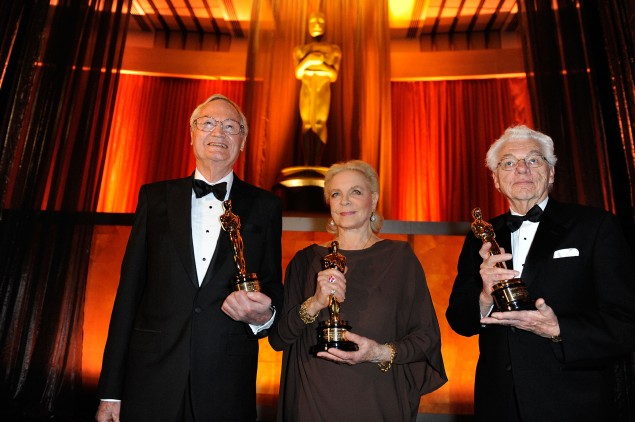 Director Roger Corman, Actress Lauren Bacall and Gordon Willis (Photo by Kevork Djansezian/Getty Images)