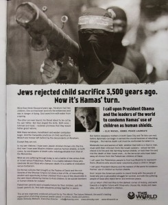 The Jewish Values Network ad approved by The Guardian.