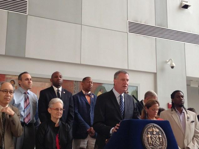 Mayor Bill de Blasio with City Council and administration officials Wednesday. (Jillian Jorgensen)