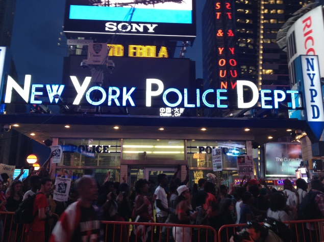 Protesters marched up Broadway from Union Square to Times Square against police brutality. (Photo by Emma Hernandez)