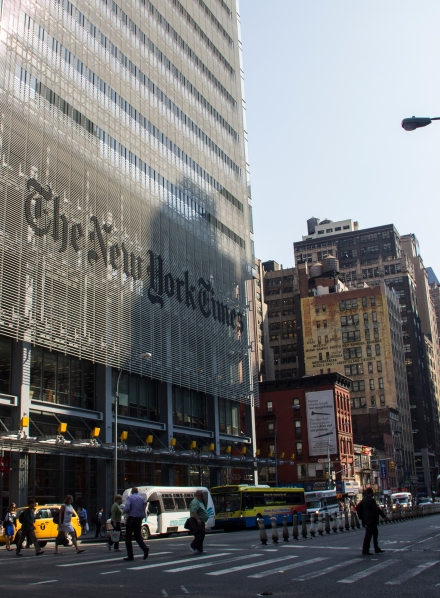 The New York Times Building on 8th Avenue (Photo by Lea Rubin)