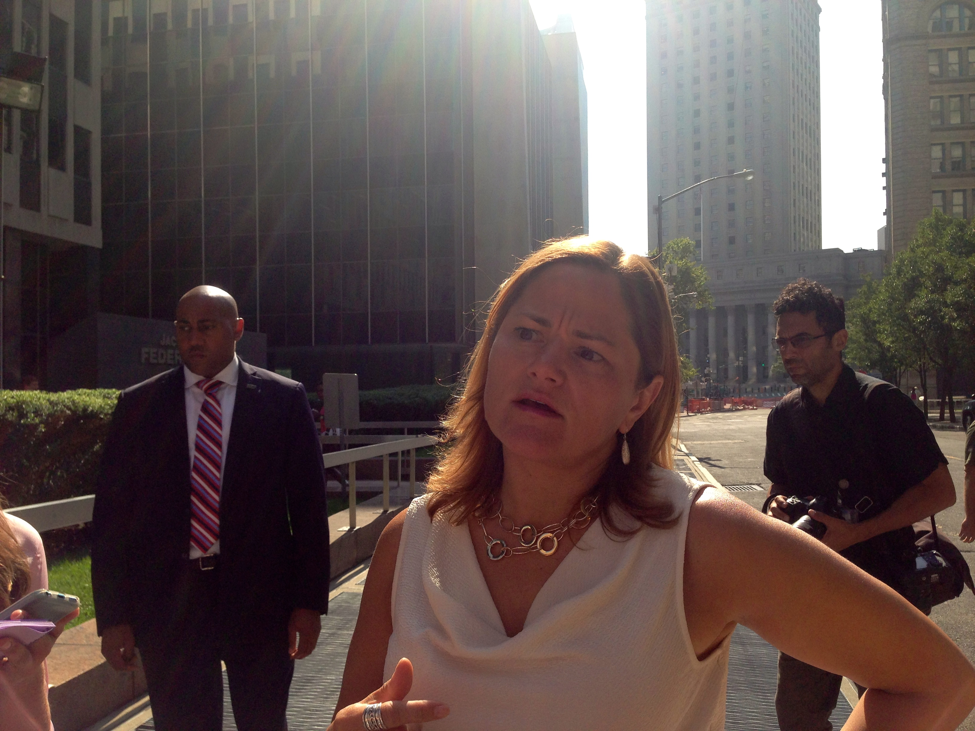 Speaker Melissa Mark-Viverito after touring immigration surge docket proceedings for unaccompanied minors.