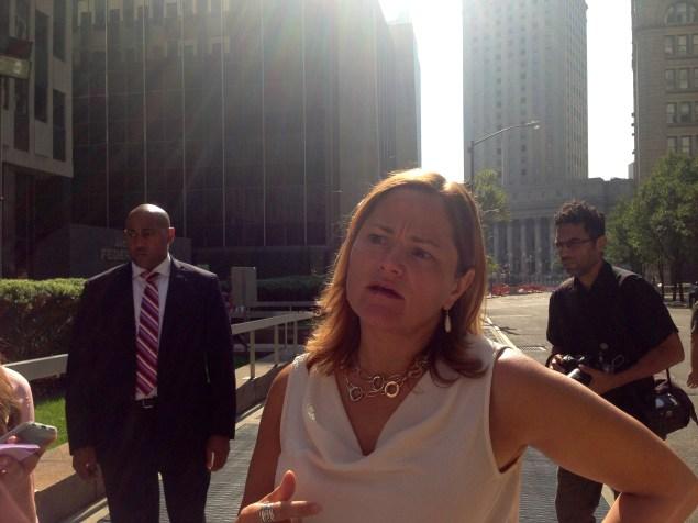 Speaker Melissa Mark-Viverito after touring the immigration surge docket proceedings. (Jillian Jorgensen)