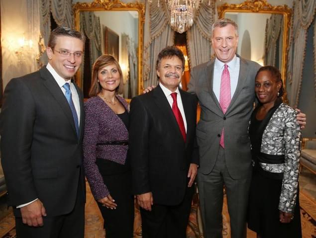 Felix Ortiz, center, beside Bill de Blasio and his wife Chirlane McCray (Photo: Facebook).