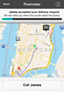 Users can keep up with their Postmate and also have the ability to text or call the courier. (Screenshot)