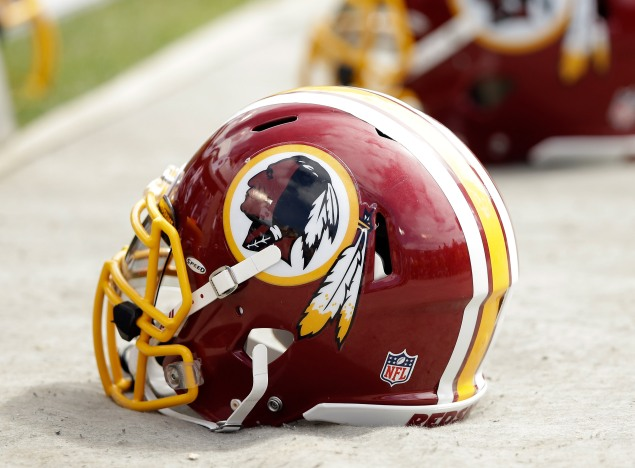 The Washington Redskins' logo and helmet. (Photo via Getty Images)