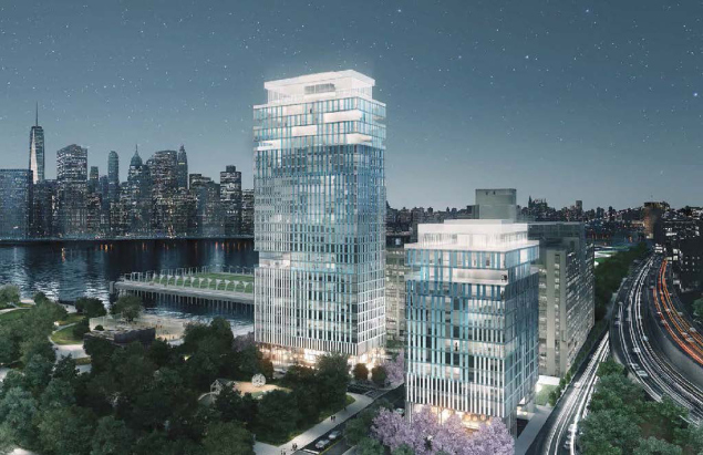 Proposed design for the Pier 6 towers (Rendering by Asymptote Architecture).
