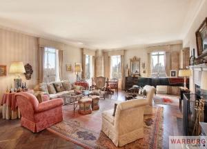 The living room actually features a variety of prints and finishes.