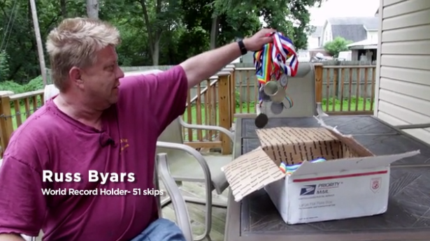 Ross Byars, world record holder in stone skipping, will be featured in the documentary. (Screengrab: Kickstarter)