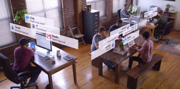 The hottest new app is office management software. (Screengrab via Sandwich Video)