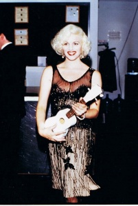 """Elaine Chez in 1999, modeling the dress Marilyn Monroe wore in """"Some Like it Hot."""" (Photo courtesy of Ms. Chez)"""