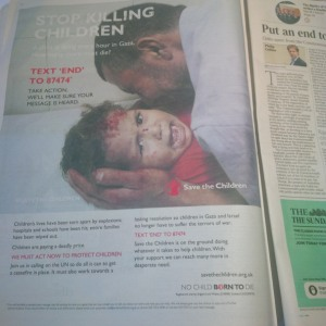 A Save the Children advertisement published in July in The Sunday Times.