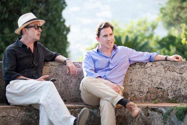Steve Coogan, left, and Rob Brydon wine and dine in The Trip to Italy.