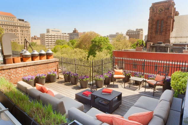 A private rooftop patio attached to Penthouse 1 of the Landmark 17.