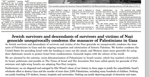 The ad as it appeared in the New York Times, sponsored by the International Jewish Anti-Zionist Network.