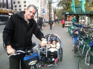 Biking in Manhattan with my daughter -- then 3, now 9.