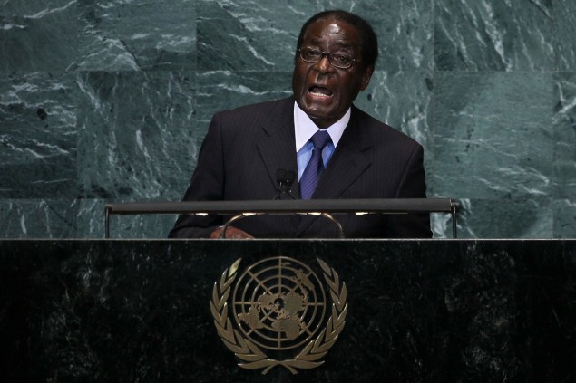 Robert Mugabe, President of the Republic of Zimbabwe  addresses the 65th session of the General Assembly at the United Nations on September 24, 2010 in New York City. Leaders and diplomats from around the world are in New York City for the United Nations yearly General Assembly.  (Photo by Chris McGrath/Getty Images)
