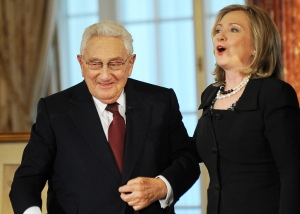 Henry Kissinger and Hillary Clinton. (Jewel Samad/AFP/Getty Images)