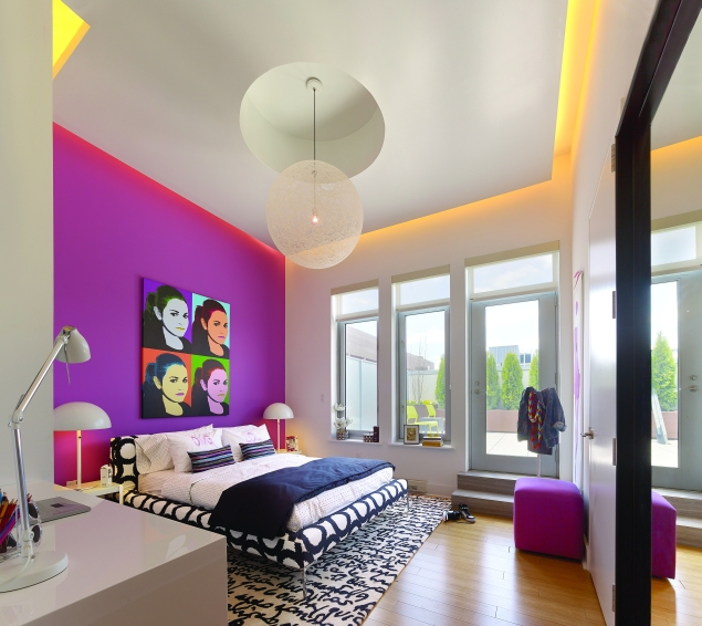 One of the four bedrooms in a duplex penthouse at 415 Greenwich.