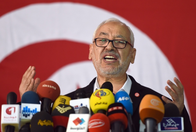 Rachid al-Ghannouchi, veteran leader of the Islamist Ennhada party, a client of Burson-Marsteller (Photo by FETHI BELAID/AFP/Getty Images)