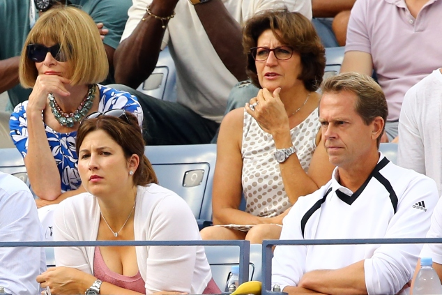 Anna Wintour, Mirka Federer, and Stefan Edberg attend the men's singles semifinal match on Day 13 of the 2014 US Open. (Photo by Al Bello/Getty Images)