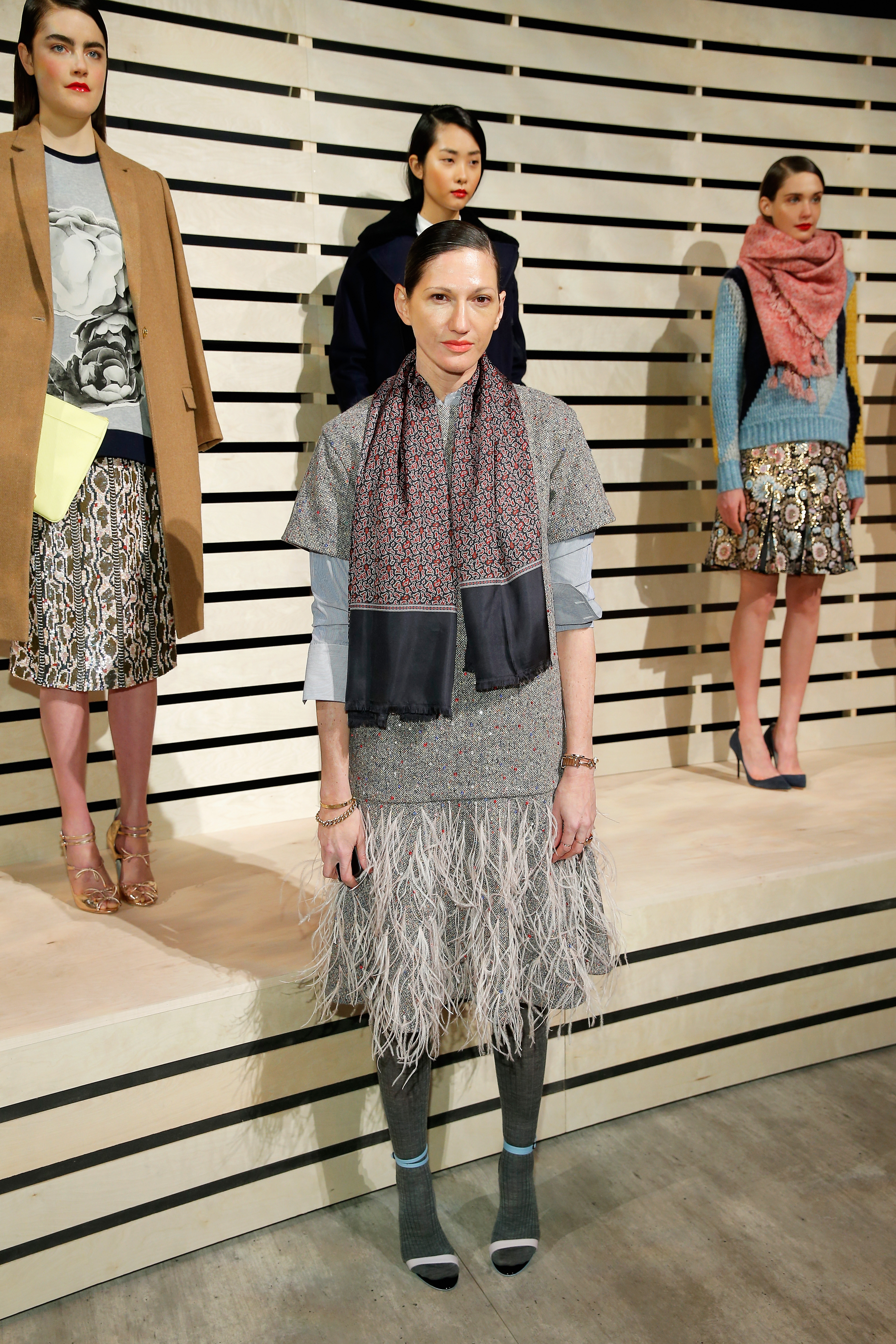Jenna Lyons with J. Crew's fall and winter 2014 collection, on display at Fashion Week. (Photo via Getty)