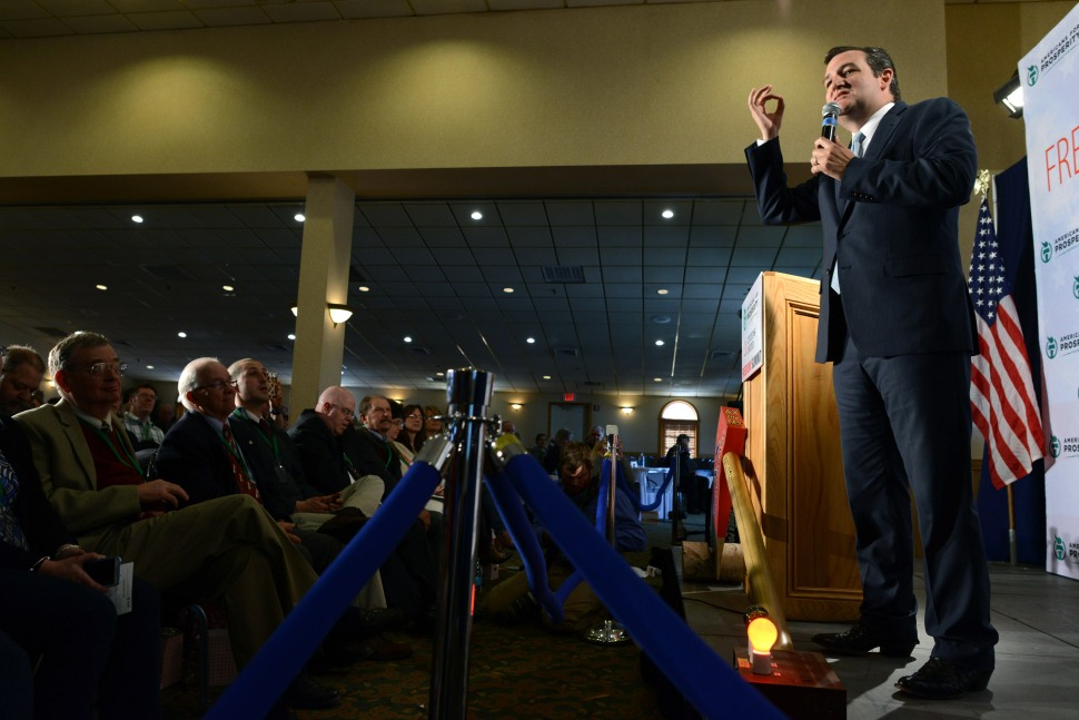 MANCHESTER, NH - APRIL 12: U.S. Senator Ted Cruz (R-TX) speaks in New Hampshire, April 12, 2014  (Photo by Darren McCollester/Getty Images)