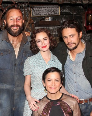 Anna Shapiro with Chris O'Dowd, Leighton Meester and James Franco on Of Mice and Men's opening night. (Photo by Bruce Glikas/FilmMagic)