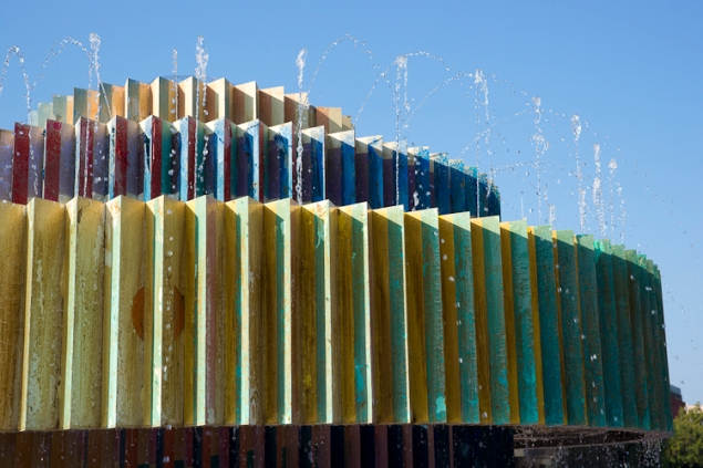 """Yaacov Agam's """"Fire and Water Fountain"""" is a main attraction in Tel Aviv. (Photo credit: Neenah/Flickr)"""