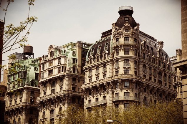 The Ansonia's famous turret stands out on Broadway.
