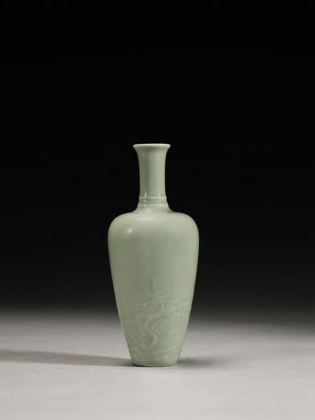 Celadon-glazed 'Dragon' Vase, Kangxi Mark and Period, soars to $2.3 million at auction.