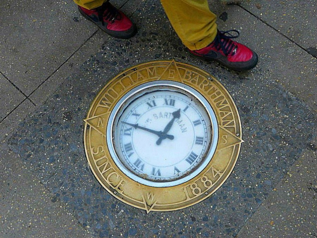 The sidewalk clock outside of William Barthman Jewelers. (John Wisniewski/Flickr)