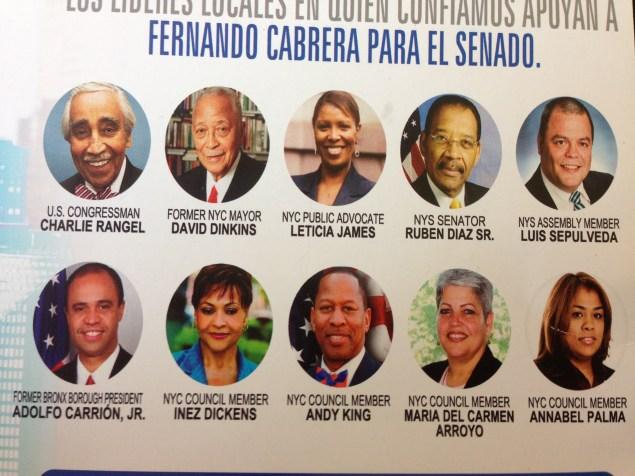 Campaign literature for Mr. Cabrera, purporting to show his endorsements.