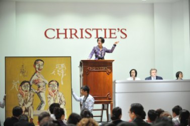 A work by Chinese Contemporary Art star Zeng Fanzhi is auctioned off at Christie's, Hong Kong. (Courtesy JingDaily.com)