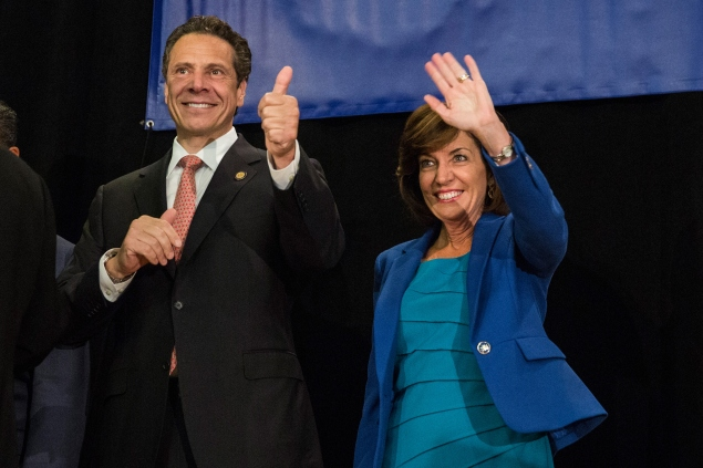 Andrew Cuomo and Kathy Hochul (Photo by Andrew Burton/Getty Images)
