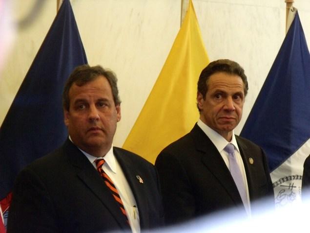 Gov. Chris Christie and Gov. Andrew Cuomo today at a homeland security presser. (Photo: Jillian Jorgensen)