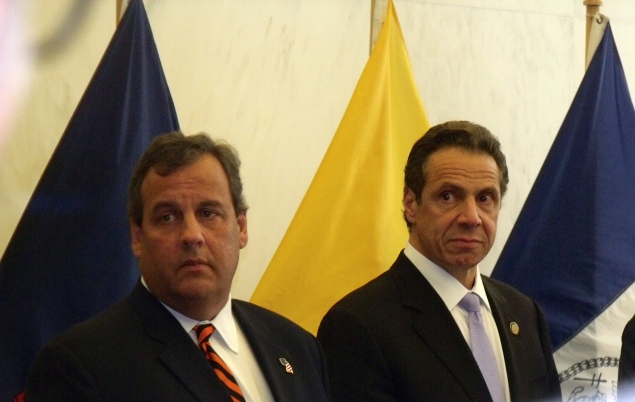 Gov. Chris Christie and Gov. Andrew Cuomo at a homeland security presser. (Photo: Jillian Jorgensen)