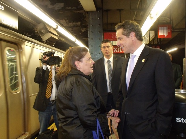 Gov. Andrew Cuomo rode the E train from World Trade Center to Penn Station today. (Photo: Jillian Jorgensen)