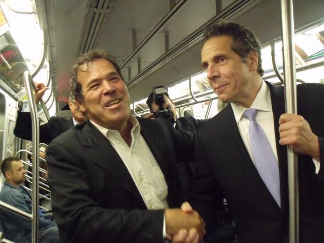 Comedian Randy Credico shook hands with Gov. Andrew Cuomo today on the E train. (Photo: Jillian Jorgensen)