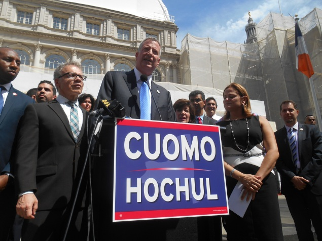 Mayor Bill de Blasio today. (Photo: Ross Barkan)