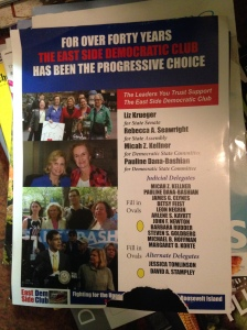 The East Side Democratic Club mailer featuring Assemblyman Micah Kellner and Rebecca Seawright.