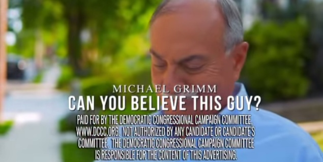 A scene from the latest DCCC ad attacking Congressman Michael Grimm. (Screengrab: DCCC)