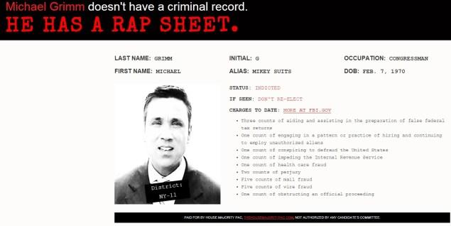 TheGrimmFile.com depict Michael Grimm as a wanted criminal (Screengrab: TheGrimmFile.com).